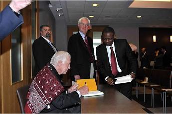 Former US President, President Jimmy Carter with Ajayi Aiyesa @Emory University 2014
